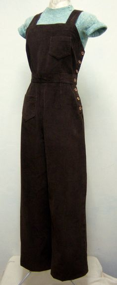 Vintage Reproduction 1940s WW2 Brown Corduroy Cord Bib & Brace Overalls Dungarees Workwear Slacks Pants Trousers