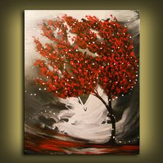 art abstract painting acrylic wall art red tree black and white acrylic large painting landscape painting original painting 18 x 24