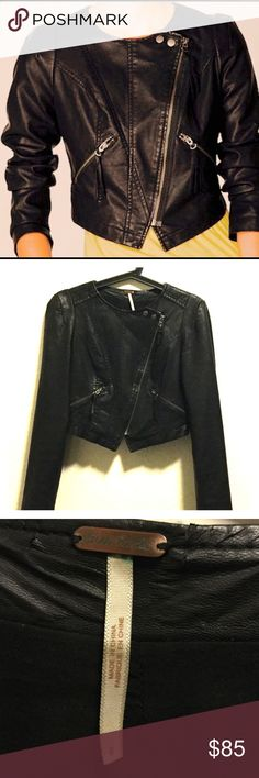 Free People Faux leather Crop Moto Free people size 0 sold out completely onlone and in stores..,.Was 198 details fully lined love this jacket looking for the hooded one 🌸💞💕💕💕 Free People Jackets & Coats