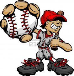 Baseball Boy Cartoon Player with Bat and Ball Illustration Stock Photo - 13057958