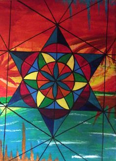 Acrylic geometric painting by Devin Duran