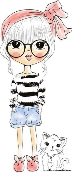 ^ Oh, hey girl! This is so cute with the stripey shirt and the crazy awesome spectacles. Art Drawings Sketches, Cute Drawings, Girl Cartoon, Cute Cartoon, Illustration Girl, Big Eyes, Cute Wallpapers, Cute Art, Art Girl