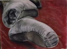 Ballet Pointe Shoes - Pastel drawing by Karen Alber
