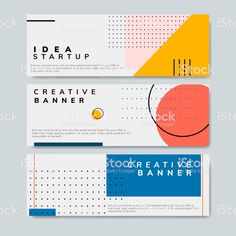 Set of minimal Memphis design start-up banner vect Minimal Graphic Design, Graphic Design Posters, Graphic Design Illustration, Poster Designs, Graphic Design Layouts, Graphic Art, Banner Design Inspiration, Web Banner Design, Layout Design