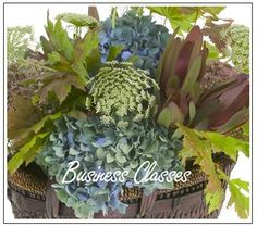 Hydrangea, Queen Anne's Lace and Vine maple for a muted autumn palette.  Floral Design Institute | classes |