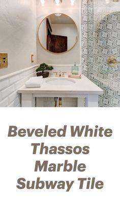 White Beveled Subway Tile, White Subway Tile Bathroom, Marble Subway Tiles, Bathroom Tile Designs, Bathroom Interior Design, Walk In Shower Designs, Modern Farmhouse Bathroom, Bath Remodel, Beautiful Kitchens
