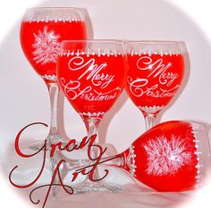 Christmas Wine Glass Red Holiday Home Decor Christmas by GranArt