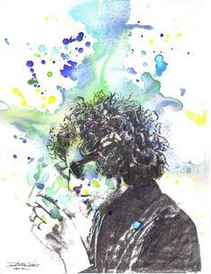 Portrait Painting of Bob Dylan Art Print From an by idillard, $18.00