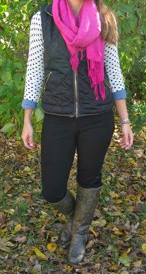 black vest, polka cardi, pink scarf, black pants, boots