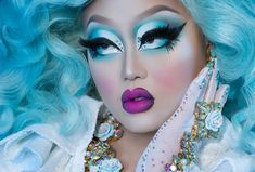 got the Monday blues y'all! Drag Queen Makeup, Drag Makeup, Kim Chi Drag, Sugarpill Cosmetics, Drag Me To Hell, Drag King, Blue Makeup, Beautiful Lips, Flawless Makeup