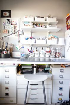 I think I may need to have a spray paint party and spray paint all my craft storage white...love how clean this looks.