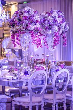 High Centerpieces Reception Table Decorations, Wedding Reception Centerpieces, Wedding Chairs, Reception Ideas, Love Decorations, Wedding Decorations, Purple Wedding, Wedding Flowers, Wedding Arbors