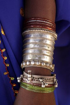 Jewelry on the arm of a Bhil-tribal girl, Gujarat, India
