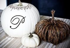 Spray paint and embellish a pumpkin...  Everything is better with bling :)