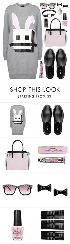 """""""Hello, Rabbit!"""" by deeyanago ❤ liked on Polyvore featuring McQ by Alexander McQueen, Miu Miu, Versace, Soap & Paper Factory, Betsey Johnson, Marc by Marc Jacobs, OPI, Monki, Disney and blackchokers"""