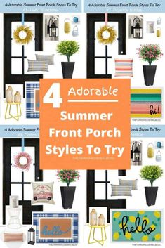 Want to decorate your front porch for spring and summer, but don't where to start?  Check out 4 Adorable Summer Front Porch Styles To Try by thetarnishedjewelblog.com.  Bring in some happy with these cheerful color schemes!!  #frontporchdecor #summer2020 #summerfrontporch #summerfrontdoor #summervibes #frontporchdecorating #frontporchideas #curbappeal #rainbowlove Summer Front Porches, Summer Porch, Garage Door Paint, Porch Styles, Indoor Wreath, Black Front Doors, Porch Entry, Gallery Frames, Painted Flower Pots