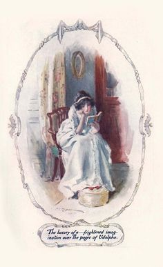 The luxury of a frightened imagination over the pages of Udolpho.    An illustration by Charles E Brock for Jane Austen's Northanger Abbey.
