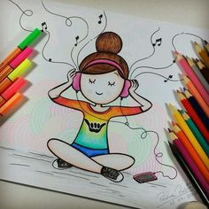 65 Ideas cool art drawings sketches for 2019 Cute Easy Drawings, Girly Drawings, Cool Art Drawings, Pencil Art Drawings, Kawaii Drawings, Colorful Drawings, Disney Drawings, Doodle Art Drawing, Girl Drawing Sketches