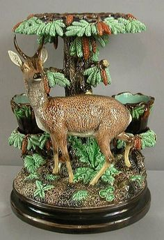 Lonitz, Germany, Majolica, Black Forest, Plant Stand with Stag C click now for info. Glazes For Pottery, Pottery Art, Pottery Making, Vases, Black Forest, Earthenware, Ceramic Art, Decorative Accessories, Art Decor