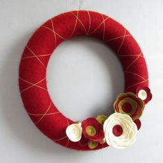 Red Christmas Yarn Wreath. Red and Gold Holiday Door Wreath. Elegant argyle, red, ivory and bronze wreath. 12 Inches.