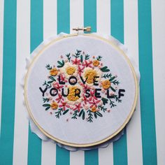 Love Yourself 6 Floral Embroidery / Hoop Art Wall Art Home Decor Part two of the two-part series of articles discussing fantastic DIY wedding tips for the crafty bride. From Sew Much Craftiness. Modern Embroidery, Embroidery Hoop Art, Floral Embroidery, Cross Stitch Embroidery, Embroidery Patterns, Motif Floral, Felt Crafts, Diy Gifts, Needlework