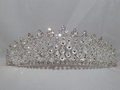 Bella's Wedding Crown, Bridal Crown, Tiara, Austrian Crystal Rhinestone Beaded Tiara Design, Bridal Wedding Hair Accessories by Glitteredtoo on Etsy