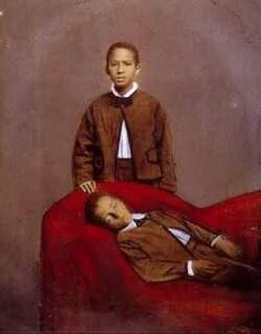 Rare african american children......I have not seen many momento mori of black people....boy on sofa is deceased......probably brothers....