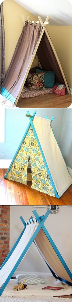 DIY Play Tent For Kids - cross the end pieces and balance the cross beam in the X at the top