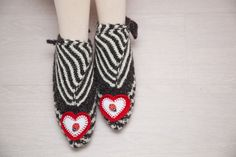 Valentines Gift, Slippers with Hearts, Slippers for Lovers, Striped Sock Slippers, Knitted Wool Socks, Furoshiki Shoes, Sling Heel Slippers