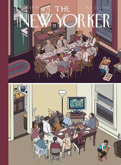 Chris Ware New Yorker cover. this one of my absolute favorite New Yorker covers. The New Yorker, New Yorker Covers, Illustrations, Illustration Art, Magazine Illustration, Capas New Yorker, Chris Ware, Magazin Covers, Ligne Claire