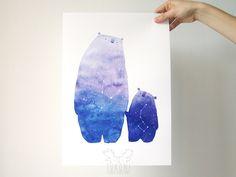 Cosmic bear art print Watercolor Great bear constellation print Ursa major minor…