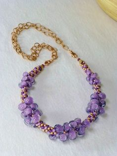 Spring Cleaning Sale - Purple Twilight Unicorne Teardrops and Rose Gold Kumihimo Necklace, Handmade, SRAJD 3520 Rope Jewelry, Bead Jewellery, Jewelry Crafts, Beaded Jewelry, Jewelery, Beaded Necklace, Beaded Bracelets, Necklaces, Beaded Collar