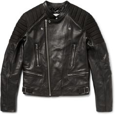 Sandro Nubuck-Panelled Leather Biker Jacket (4.267.545 COP) ❤ liked on Polyvore featuring mens, men's clothing, men's outerwear, men's jackets and black
