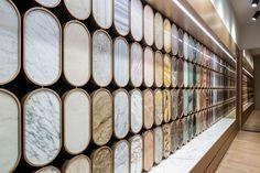 Budri Milano by Patricia Urquiola Stage Curtains, Velvet Drapes, Showroom Design, Interior Design, Creative Hub, Patricia Urquiola, Faux Stone, Office Interiors, Retail Design