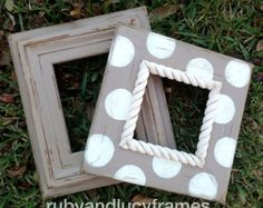 set of two table top distressed frames-- taupe and heirloom white 5x7 and 5x5