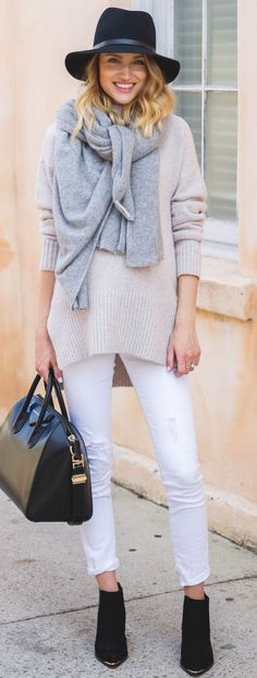 Little Blonde Book Wrapped In Neutrals Fall Street Style women fashion outfit clothing stylish apparel @roressclothes closet ideas