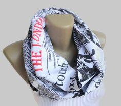 book scarf London scarf ,scarf book /men scarf / newspaper  / women cotton infinity scarf / neckwarmer / spring summer scarf senoAccessory