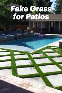 Each of these faux grass for patio products will help transform a boring, cold, outdoor space into an attractive and comfortable one that will look and feel much better than common concrete slabs or other ideas you may have previously thought you were limited to if authentic lawn is less than ideal in your space. Outdoor Swimming Pool, Swimming Pools, Pool Mat, Faux Grass, Non Slip Flooring, Concrete Slab, Lawn, Tiles, Deck