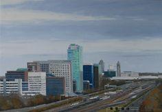 Zuidas Amsterdam x 100 cm) Amsterdam, New York Skyline, Paintings, City, Travel, Viajes, Paint, Painting Art, Cities