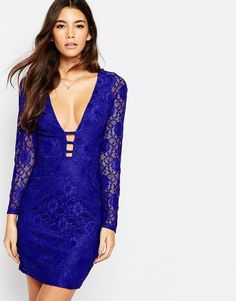 Oh My Love Plunge Front Midi Lace Dress