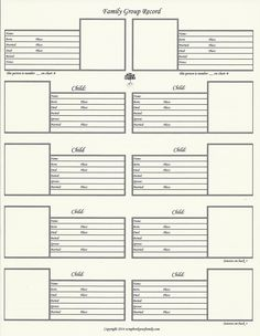 by Scrapbook Your Family Tree 8.5″ x 11″ – Family Group Chart 2 This family group chart gives you a place for the names and room for pictures of the parents, 8 children. Pr…