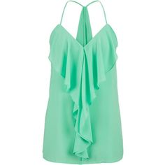 maurices Ruffle Front And Drape Back Chiffon Tank ($26) ❤ liked on Polyvore featuring tops, shirts, tank tops, tanks, mojito, chiffon top, layering tanks, green top, layering shirts and green chiffon shirt