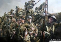 Stunning #WWI #Military painting of the 1st Battalion Lancashire Fusiliers going over the top on July 1st 1916, #Battle of the Somme.  Source: Chris Collingwood from Cranston Fine Arts   SEE: http://wp.me/p2Qfae-As    Source: Chris Collingwood from Cranston Fine Arts