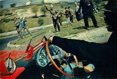 1957 Mille Miglia. Peter Collins drive the Ferrari 335 Sport while Louis Klemantaski take this amazing shot!  -Photo by Louis Klemantaski.  Klemantaski Collection
