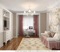 Фото интерьера детской комнаты для девочки http://www.ok-interiordesign.ru/blog/dizayn-detskoy-komnaty-dlya-devochki.html