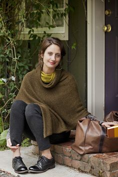 "Easy Folded Poncho ""It's like a really elegant sweatshirt."" Our favorite poncho transcends the trends. It's easy to knit (just one long stockinette rectangle), easy to finish, and easy to throw on. Wh"
