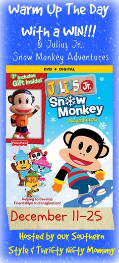 Julius Jr. giveawayhttp://thriftyniftymommy.com/2014/12/bring-snow-julius-jr-snow-monkey-adventure.html