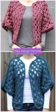 Crochet Granny Shrug: This is the adult size version of the Hexagon Sweater. Just adjust hook & # of rounds to make desired size.