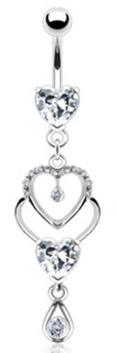 """14g Clear Gem Dangling Heart Sexy Belly Button Navel Ring Body Jewelry Piercing Dangle with Clear Gems and Surgical Steel Bar 14 Gauge 3/8"""" Nemesis Body JewelryTM Nemesis Body JewelryTM,http://www.amazon.com/dp/B0069A9UGA/ref=cm_sw_r_pi_dp_ubA7sb1W7JSDEC7S"""