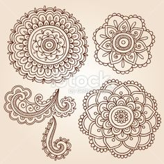 Henna Mehndi Tattoo Mandala Flowers Vector Elements Royalty Free Stock Vector Art Illustration